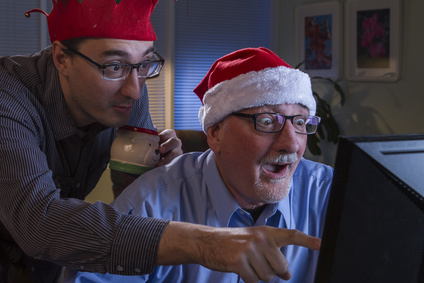 Two men excited for Christmas, horizontal